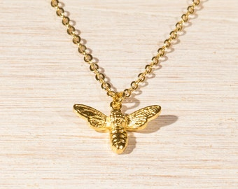Bee Necklace in Gold, Dainty little Honey Bee