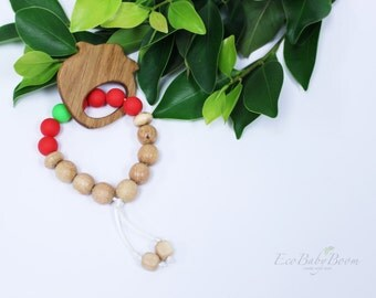 Teething toy silicone toy wooden rattle   bracelet strawberry baby teether cute gift for boy and girl