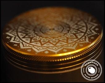 Weed Grinder - Stunning Indian mandala custom design on gold grinder