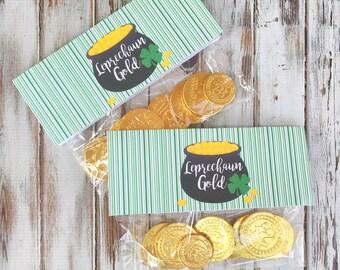 INSTANT DOWNLOAD: St. Patrick's Day Leprechaun Gold Bag Topper