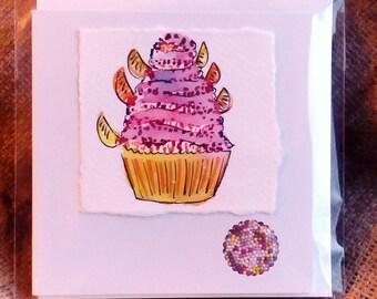 Tangerine Tango Tower Cup Cake Card