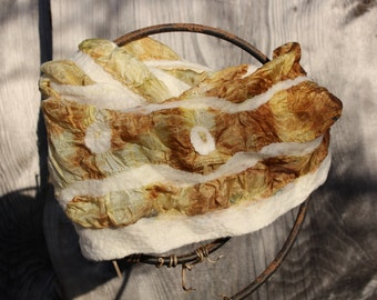 delicate Nuno felted scarf ecoprint