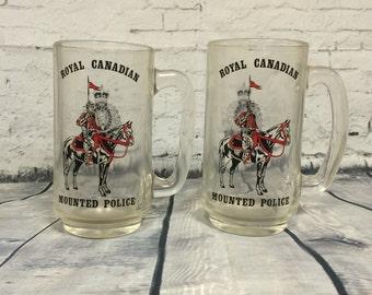 Beer Mugs Set of 2 Vintage Canadian Royal Mounted Police Glass Mugs