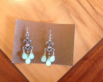 Sterling chandelier and chalcedony earrings