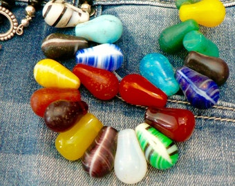 Multi-Color African Beads/Funky Glass Beads/Toggle Clasp/Jeans Necklace/Casual/Fun