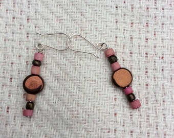 Pink and bronze dangle  earrings