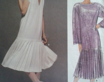 sz 10 Vogue Kasper American Designer drop-waist dress sewing pattern 1980's - UNCUT
