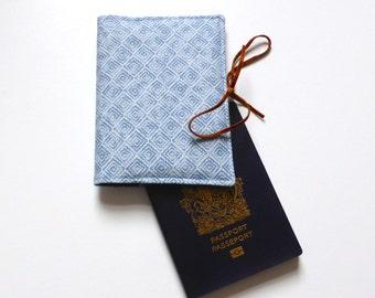 Aztec white and denim boho passport holder / passport case / passport cover