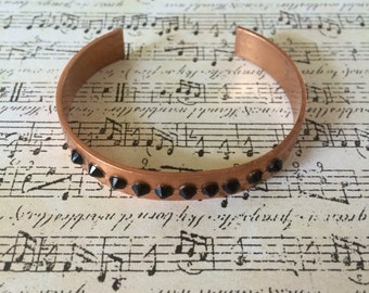 Cuff bracelet, copper bracelet, black bracelet, jet black bracelet
