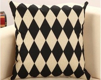 Decorative Pillowcases Harlequin Black and Beige Pillows Throw Pillow Cushion Cover Geometric Pattern