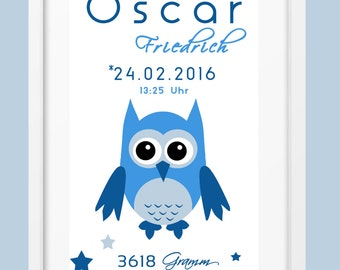 DIN A4 birthdates mural 'OWL' blue personalized print, print
