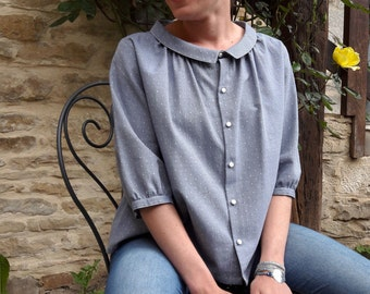 Shirt women's blue with white polka dots in french organic cotton