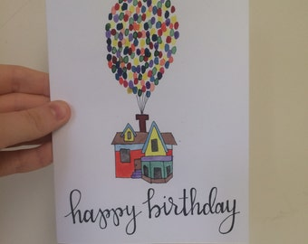 Up Birthday Card, Painted Birthday Card, Up Movie House, Watercolor Up House, Up Balloons Card, Handmade Birthday Card, Kids Birthday Card