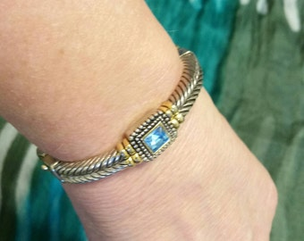 Vintage Two Tone Gold and Silver Clasp Bangle With Large Blue Gemstone