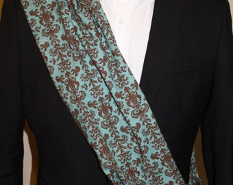 Infinity Scarf, Damask, Blue and Brown