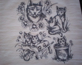 Sweet Kitten Collage Towel, Embroidered Kittens Towel, Embroidered Flour Sack Towel