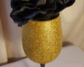 Black and Gold Glitter flower vase