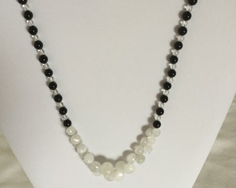 Black agate, clear Quartz and moonstone beaded necklace.