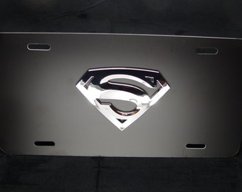 SUPERMAN Metal License Plate  For Cars Matte Black 3D SUPERMAN Emblem LOGO