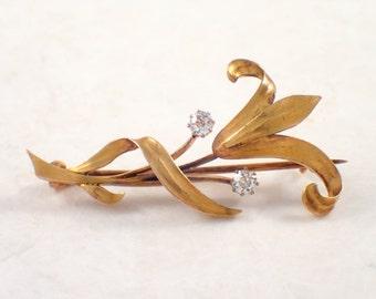 14K Yellow Gold Arts and Crafts Diamond Brooch