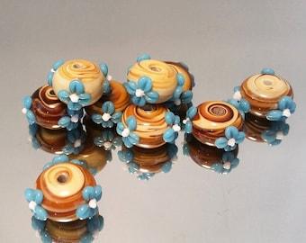 Flower beads turquoise brown ceramic handmade, rondelle beads, turquoise beads, flower charms, spacer beads