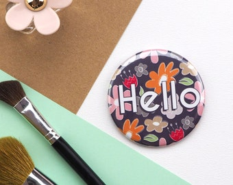 Floral Pocket Mirror // Compact Mirror // Vanity Mirror for bag //  Round Mirror //  Cute Mirror for Bag // Gift for Her