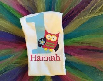 Owl First Birthday Onesie