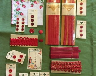 Vintage sewing notion kit inspiration red buttons binding rick rack etc.