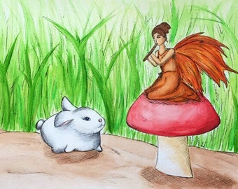 Fall Fairy and Bunny Rabbit - Watercolor