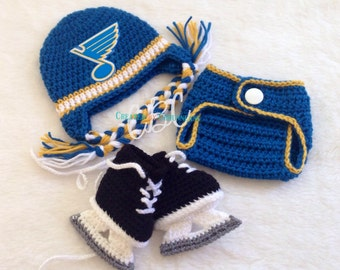 Made to Order Baby St Louis Blues inspired Hockey Earflaps Beanie, Hat