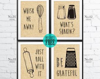 Funny Kitchen Burlap Prints, Kitchenware, Whisk, Rolling Pin, Humor Print, Rustic Kitchen Decor, Housewarming Gift, Burlap Sign, SD38~41