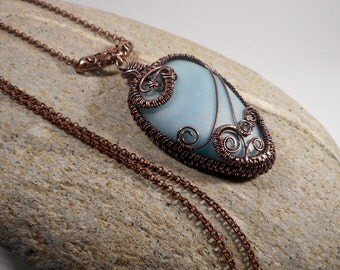 Copper wire wrapped Polymer Clay pendant