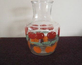 Glass Carafe Orange Juice Tomato Anchor Hocking Pitcher Vintage