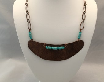 Hammered Carved Copper and Turqoise Necklace