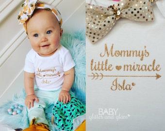 Mommy's Little Miracle Bodysuit, Baby Girl Miracle Baby Shirt, Baby Girl Shirt Take Home Outfit