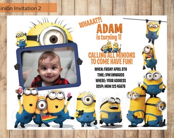 Minion Invitation - Despicable Me Invitation - Printable - Birthday Party - Digital Invitation - 4x6 or 5x7 - Personalized Invitation Card.