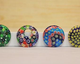 Millefiori Pendants, Multi Colored Millefiori Pendants, Round Millefiori Pendants, Millefiori Beads, Jewelry Making Supplies, Glass Pendants