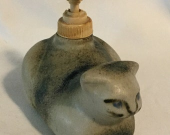 Vintage Figural Stoneware Cat Lotion Dispenser Sgnd by Artist