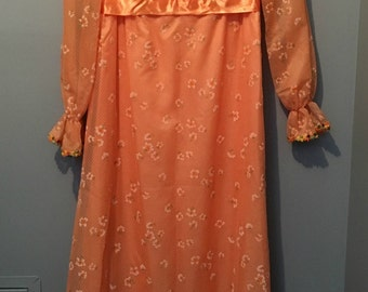 Vintage 1970s Orange Nu-Mode Empire Waist Party Dress