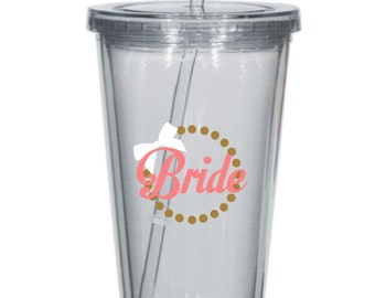Bride tied with a bow Tumbler - Wedding, Engagement, Bachelorette Party
