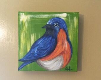 Blue Bird, 8x8 acrylic canvas