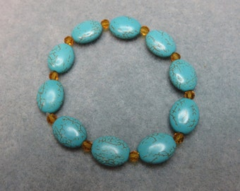 Turquoise Bracelet w/Amber Swarovski Crystals