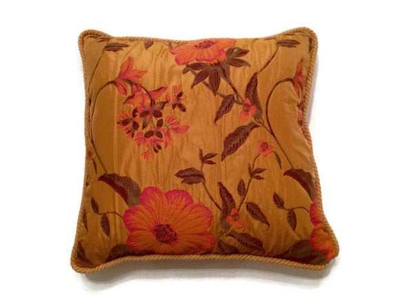 Luxury Decorative Bed Pillows : Hibiscus Glory Decorative Pillow-Luxury Pillow-Embroidered