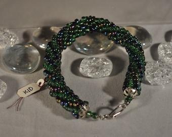 Green and Metallic Beaded Bracelet