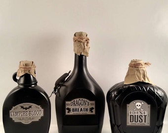 Halloween potion decor set of 3,potion bottles,Halloween decor, Halloween bottles, Halloween centerpiece, black Halloween bottles