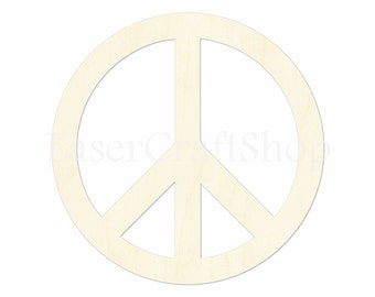 """2"""" - 34"""" Peace Sign Wooden Cutout Shape, Silhouette, Gift Tags Ornaments, Room Decoration, Laser Cut Birch Wood,  #1630"""