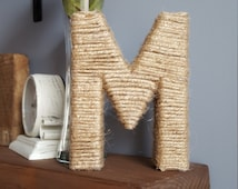 """Custom 6"""" twine wrapped letters-made to order-monogrammed twine letters-wedding decor-rustic initials"""