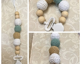 Crochet Pacifier Clip --Teether --Handmade any color