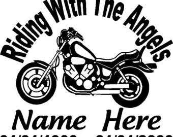 Custom Motorcycle Memorial Vinyl Decal
