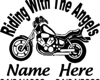 Custom Personalized Motorcycle Memorial Vinyl Decal